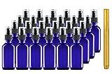 Culinaire 24 Pack 2 oz Blaue Glasflaschen mit Spray Tops und Gold Glas Stift
