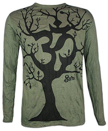 Sure Clothing Herren Longsleeve T-Shirt Om Baum des Lebens Größe M L XL Hinduismus Yoga Hindu Boho-Chic Namaste (Olive Grün XL)