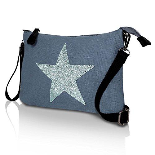 DeerDeer Damen Tasche Schultertasche Umhaengetasche mit Stern Muster Tragetasche Blau 23074