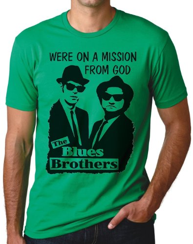OM3 - BLUES BROTHERS - MISSION FROM GOD - T-Shirt JAKE and ELWOOD BLUES USA, S - 5XL Grün