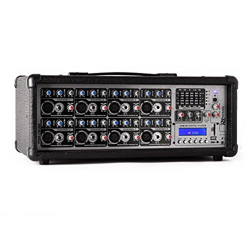 Power Dynamics PDA-C808A 8-Kanal Power-Mixer Mischpult mit 800 W Verstärker (15 V Phantomspeisung, 5-Band Master-Equalizer, USB-Port, SD-Slot, frei gestaltbarer Halleffekt)