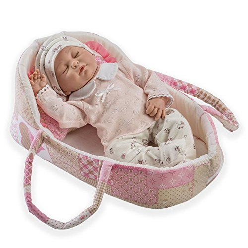 Doll Baby Kinder Kostüm - Munecas Guca 511CRIS Baby Puppe in rosa/beige Kostüm mit Kapazität, 38cm
