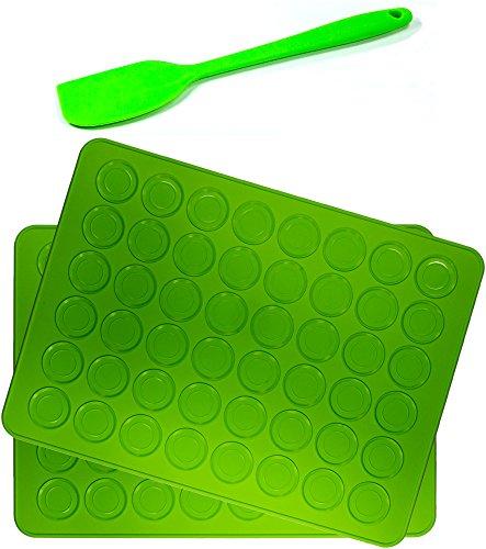 Belmalia 2x Macarons Backmatte aus Silikon für 24 perfekte Makronen 48 Mulden antihaftbeschichtet 38x28cm + Teigschaber 22cm Grün