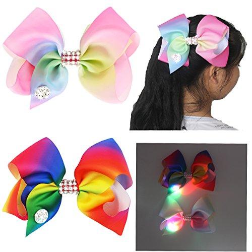 Große Haarschleife für Mädchen, bunt/mehrfarbig, modisch, als Accessoire für Tanzpartys oder die Schule, leuchtet im Dunkeln dank LED, 2 Stück Cheerleader Glitzer