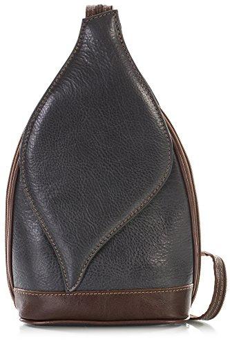 Petit sac à main 2 en 1 porté épaule transformable en sac à dos en autentique cuir italien - Ouverture magnétique type feuille - 'Kim' par LiaTalia(Gris sombre et bords brun)