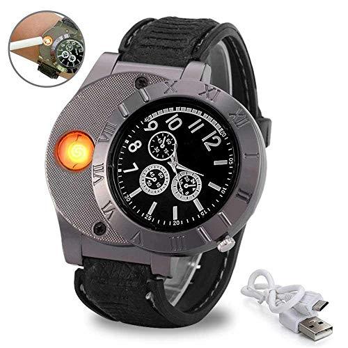 LayOPO - Reloj de Pulsera con Encendedor USB, Recargable, Resistente al Viento, sin Llama, para Hombre