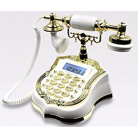 XINJING-S Creatividad Pastoral Europeo Vintage Retro Estilo Antiguo teléfono de escritorio Imprimir Home Salón decoración, Blanca,240*220*212mm