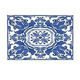 Aliyz Tapeten-Badevorleger, Aquarell-Retro-Blumen, Laub wie Azulejo-Fliesen, Rutschfeste Fußmatte für den Innenbereich, Türmatte, Kinder-Badematte, 39,9 x 59,9 cm, Badezimmer-Zubehör