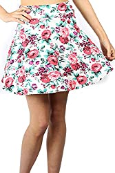 Womens Ladies Floral Summer Printed Flared Stretchy High Waisted Swing Skater Mini Skirt by BE JEALOUS