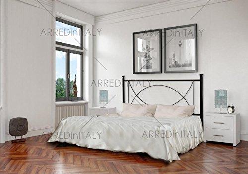 Letto matrimoniale in ferro colore nero grafite con giroletto predisposto per rete con piedini 160 x 190 cm. non inclusa - prodotto made in italy - arr043