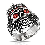 Blackama Cement Unisex Skull Biker Gothic Skull Ring Solid Stainless Steel with Red