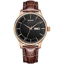 BUREI Herren Armbanduhr schwarz mit braunem Quarz Datum Tagesanzeige Lederarmband SM-13001-P05ER