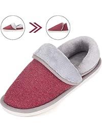 SAGUARO® Mujer Hombres Zapatillas Otoño Invierno Interior Casa Caliente Slippers Suave Algodón Zapatilla Pareja Zapatos