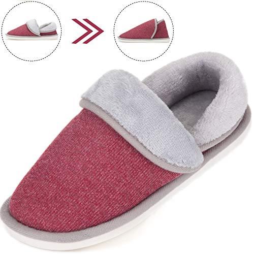 SAGUARO Mujer Hombres Zapatillas Otoño Invierno Interior Casa Caliente Slippers Suave Algodón Zapatilla Pareja Zapatos Rojo 40