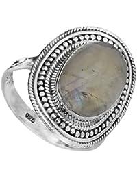 Moonstone del arco iris con granulación - Anillo de plata de ley
