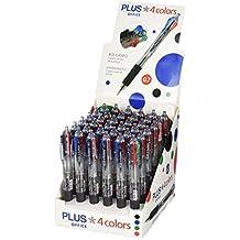 Plus Office 4 colors - Bolígrafo, expositor 36 unidades, azul / negro / rojo / verde