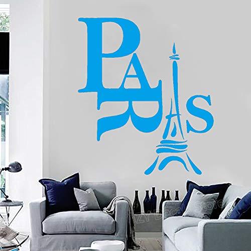 Parigi Decalcomania da muro in vinile Soggiorno Decorazioni per la casa Adesivi murali Torre Eiffel rimovibili Camera da letto Decorazione murale Edificio storico color-3 70X81 cm