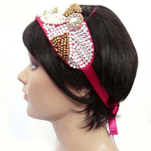 Perlé Ruban Cheveux Bandeau Accessoire De Mode Bande Inde Cadeau De Bijoux Pour Elle rose