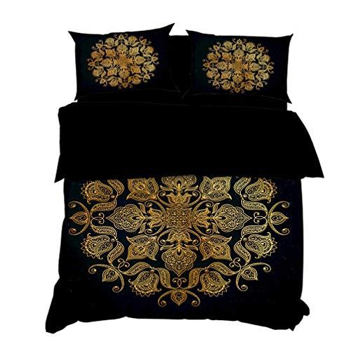 HNHDDZ Bettwäscheset 3D Abstract Sonne Mond Schmetterling Geometrische Blume Drucken Schwarz Gold Heißprägen Bettbezug (Blume,Bettbezug 155x220 cm 2 Kissenbezug 80x80 cm) -