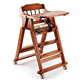 CQ Kinderstuhl Zusammenklappbar Tragbar Baby Sitz Mit Platte (Natural All Wood),Brown