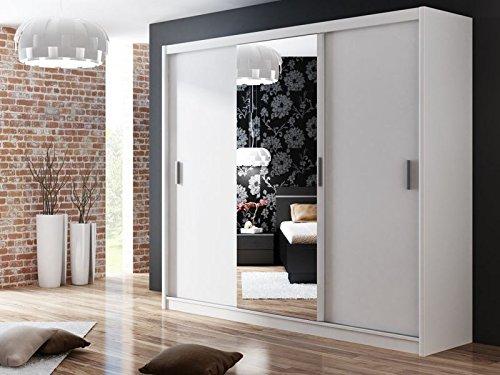 Kleiderschrank MONAKO in Weiß, mit Spiegel, Breite: 250 cm, Höhe: 215 cm, Tiefe: 61 cm