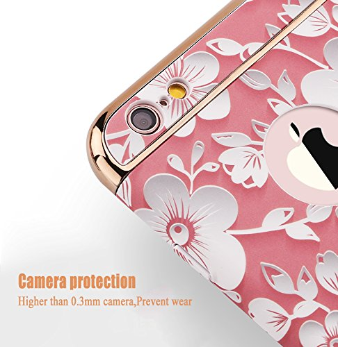 Sunroyal® Cover iPhone 6 plus, iPhone 6s plus Custodia [Shock-Absorption] 3 in 1 Armatura telaio in metallo Dura PC Fiori Texture in Rilievo Protettiva Custodia Case per Apple iPhone 6 plus / 6s plus  Modello 01