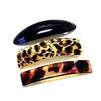 La Peach Fashions Lovely Set Of Three Oval Leopard And Rectangular Hair Slide Barrette Clip Banana Hair Comb Barrette (Bkleotort)
