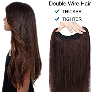 16 inch One Piece Thick Invisible Hair Extensions Secret Double Wire No Clip in Hair Extension 100% Remy Real Hair Pieces for Women Straight(90g,#2 Dark Brown)