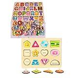 OneCreation Holzpuzzle Set mit 2 geometrischen Puzzles für Kinder, Buchstaben und Formen lernen Der Spaß, klassische Lehrspielzeuge für 1, 2, 3 Jahre, Toldders, Jungen und Mädchen - Geschenke für Erziehung und Lernen