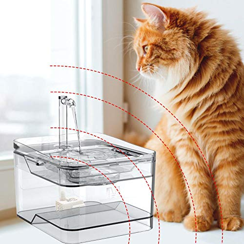 Rubyu Katzen Trinkbrunnen, katzenbrunnen von Ultra-leise Transparentes Design, Automatisch Haustier Wasserbrunnen Wasserspender mit Aktivkohlefilter 3L, Einfache Reinigung