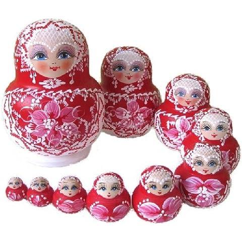 10-pack figurine Russian folk art red M008 clean matryoshka dolls (japan import)