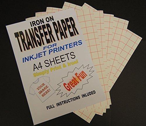 Transferpapier, zum Aufbügeln auf T-Shirts und Stoffe, für Tintenstrahldrucker geeignet, DIN A4, 20 Blatt