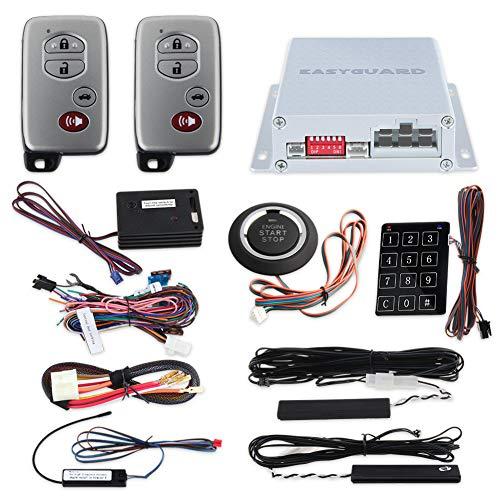 EasyGuard Rolling Code PKE Auto Alarm System mit passiver Keyless Entry Remote Start Push Button Start Stop Touch Passwort Eintrag Schock Sensor Warnung Auto Verriegelungs Entsperren Autotüren ec002-t-ns