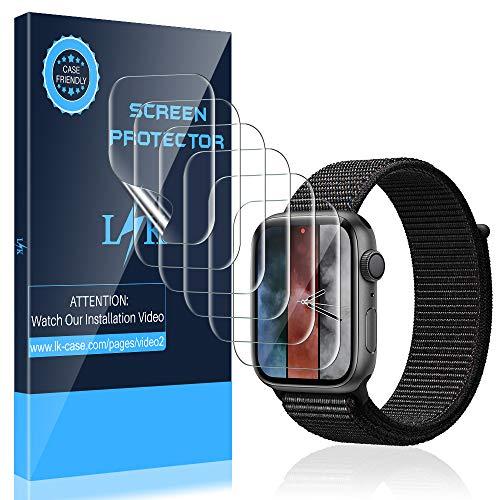 K&L [6 Stück] LK Schutzfolie für Apple Watch 44mm 42mm, [Kompatibel mit Hülle] [Blasenfreie] Klar HD Weich TPU Folie [Lebenslange Ersatzgarantie]