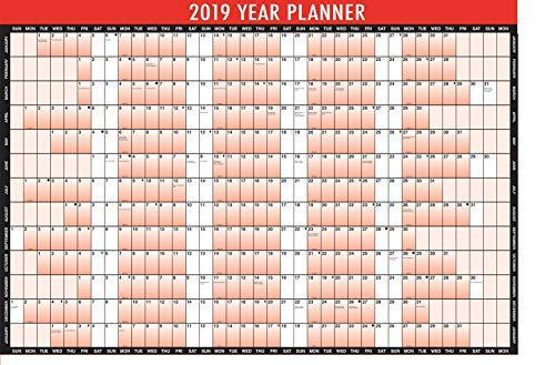 New Style 2019 A1 Laminated Wall Planner Blister Pack Wipe Dry Pen & Sticker Dots