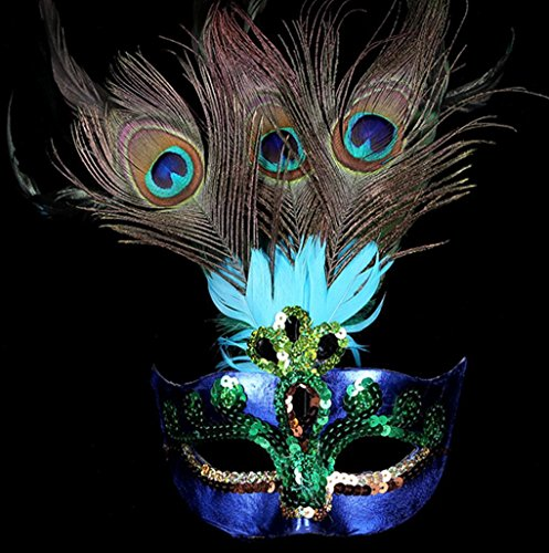 Magnetschlösser Pfau Federn Maske für Maskerade Kostüm Party Halloween Cosplay Venezianische Maske (Halb Maske Mit Pfauenfedern)