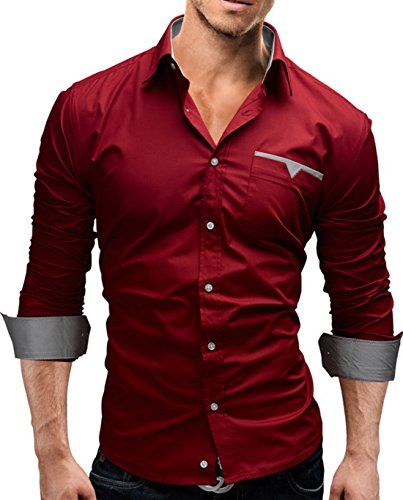 Men's High Quality Solid Plaid Patch Long Sleeve Casual Shirts Wine Red