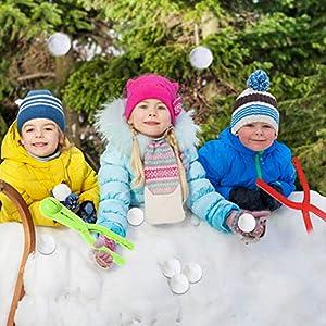 EQLEF® 4 Stücke Bunte Plastik leichte kompakte Schneeball-Kampf-Werkzeug-Vorrichtung Schnee-Kugel-Hersteller-Form Eisball-Werfer-Schnee-Spielwaren