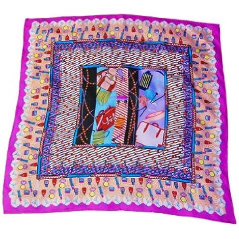 Zavetti grande-Sciarpa in Twill di seta, con pendente filigranate s Fashion Fine a mano, con bordi laminati, cosmetici e borse