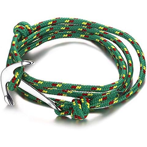 Vnox Braccialetto dell'involucro regolabile in acciaio inox nylon verde corda intrecciata delle donne degli uomini Maritime Anchor vichingo,Argento - 14k Oro Nautico Anchor