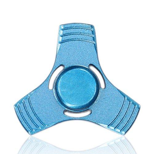 Preisvergleich Produktbild Loomiloo® Hand Metall Fidget Spinner Three Wing Finger Kreisel Spielzeug aus SI3N4 bei ADHS, Panikattacken, Stress, Rauchstopp und Angstzuständen (Blau)