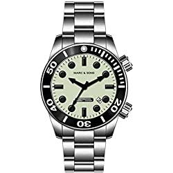 Marc & Sons 1000Meter Professional Diver Watch-Automatic Diving Watch MSD, Satellite