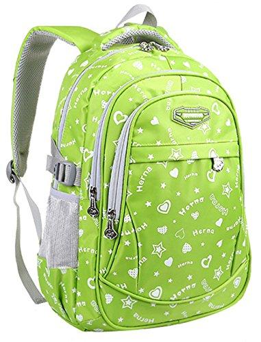Keshi Nylon Cool Schulrucksäcke/Rucksack Damen/Mädchen Vintage Schule Rucksäcke mit Moderner Streifen für Teens Jungen Studenten Gelb