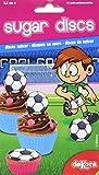Dekora - 12 Mini Disco Comestible de Futbol para Cupcakes, Muffins o Magdalenas de 3,4 cm de Diametro