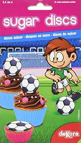 Dekora 231191 Fußball kleine Cupcake Toppers aus Esspapier-16 Stück