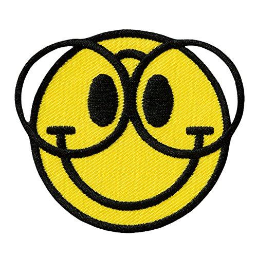 SMILEY mit Brille / with glasses - Aufnäher Aufbügler Applikation Patch - ca. 6,5 x 5,5 cm
