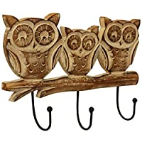 Crafkart Wooden Owl Family Wall Hooks Key Holders - Shabby Chic Distressed Finished Owl Wooden Coat Hangers