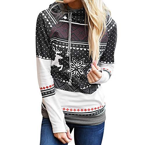 Xuthuly Winter Damen Kapuzenpullover Mode Langarm Oberteile Sweatshirt Pulli mit Kapuzen Freizeit Weihnachtsdruck Druck Stitching Jumper Hoodie Blouse Pullover