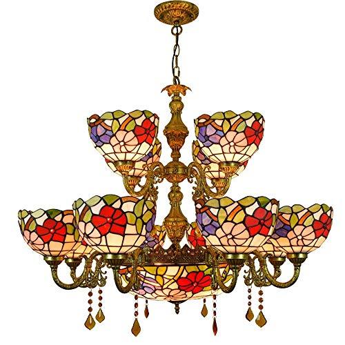 Europäische Kronleuchter, Retro Tiffany Stil Pendelleuchte Glasmalerei Rot Hotel Wohnzimmer Anhänger Double Tier Licht 10 Kopf Vintage Tiffany Lampen -