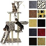 Miganeo® Katzen Kratzbaum ca. 138cm mit vielen Kuschel-und Spielmöglichkeiten Leopardenfelloptik KB-11